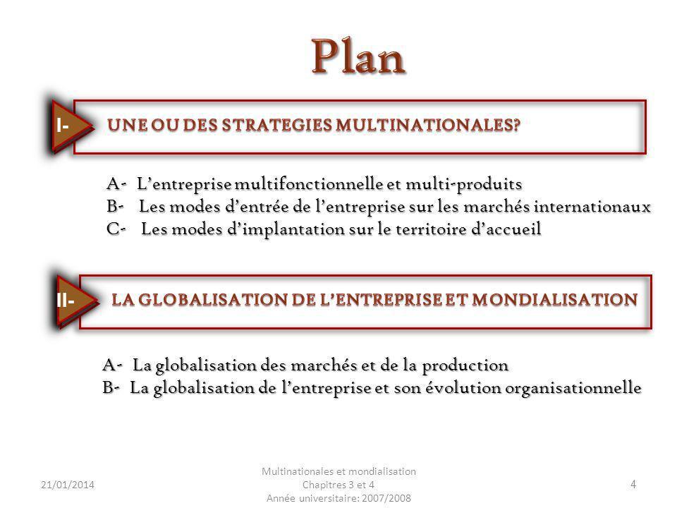 Plan I- A- L'entreprise multifonctionnelle et multi-produits