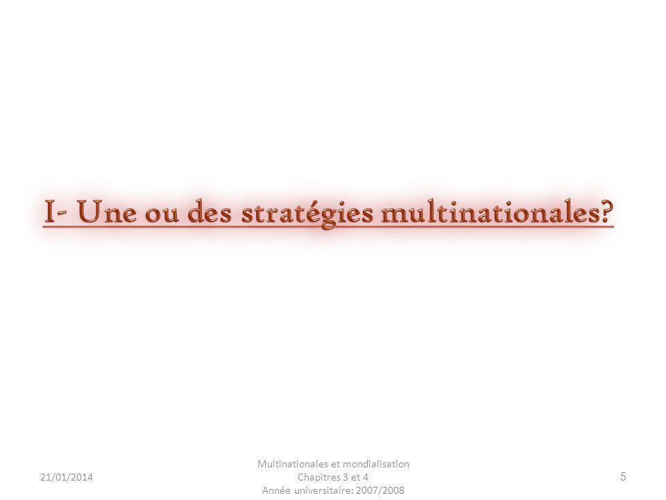 I- Une ou des stratégies multinationales