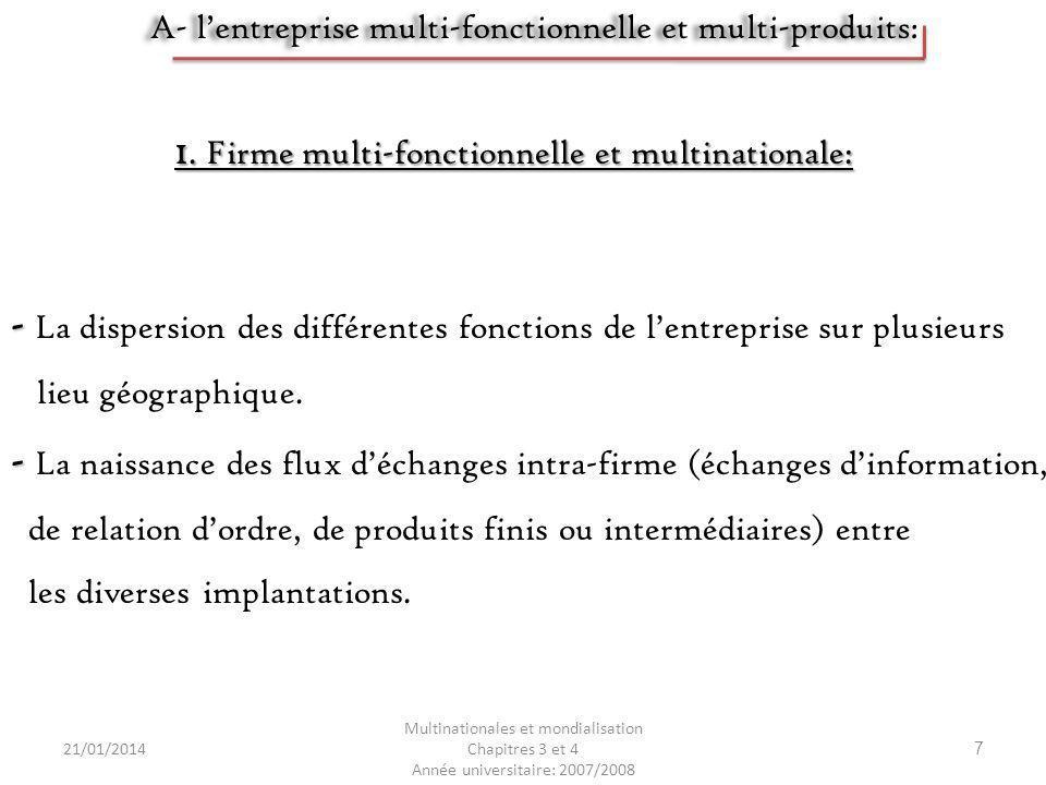 1. Firme multi-fonctionnelle et multinationale: