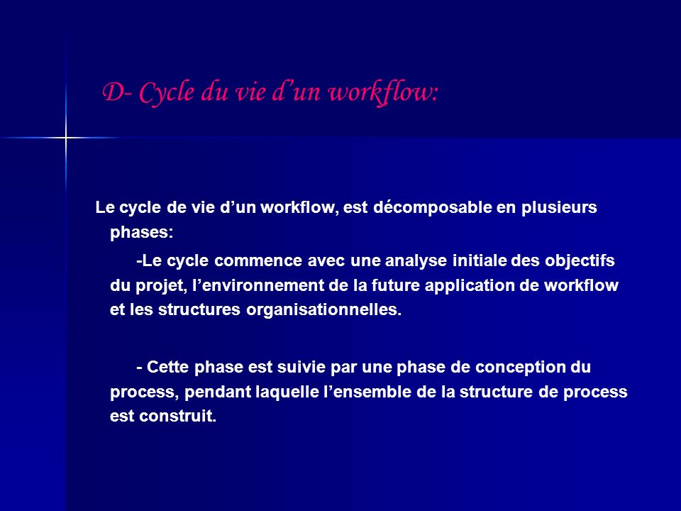 D- Cycle du vie d'un workflow:
