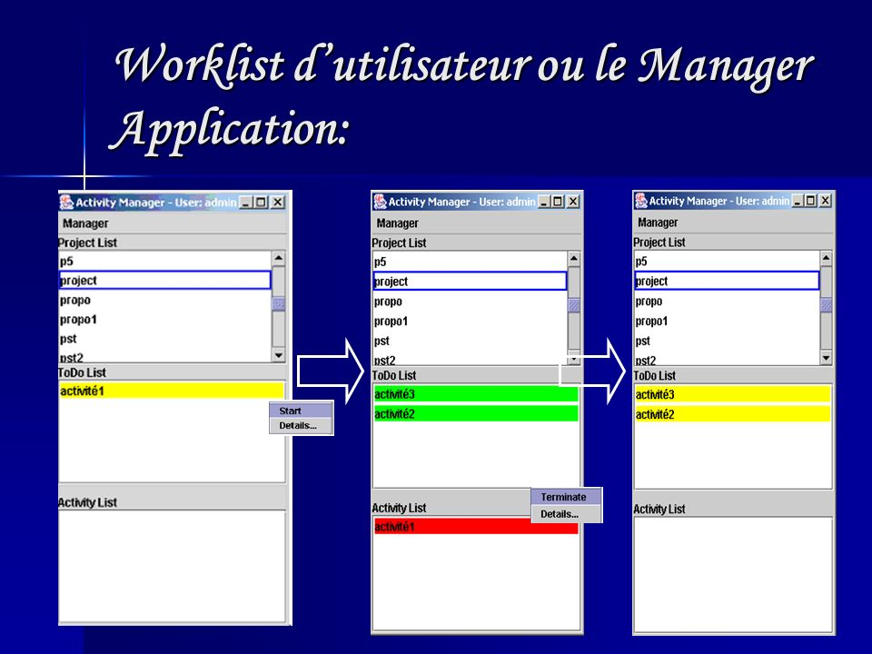 Worklist d'utilisateur ou le Manager Application: