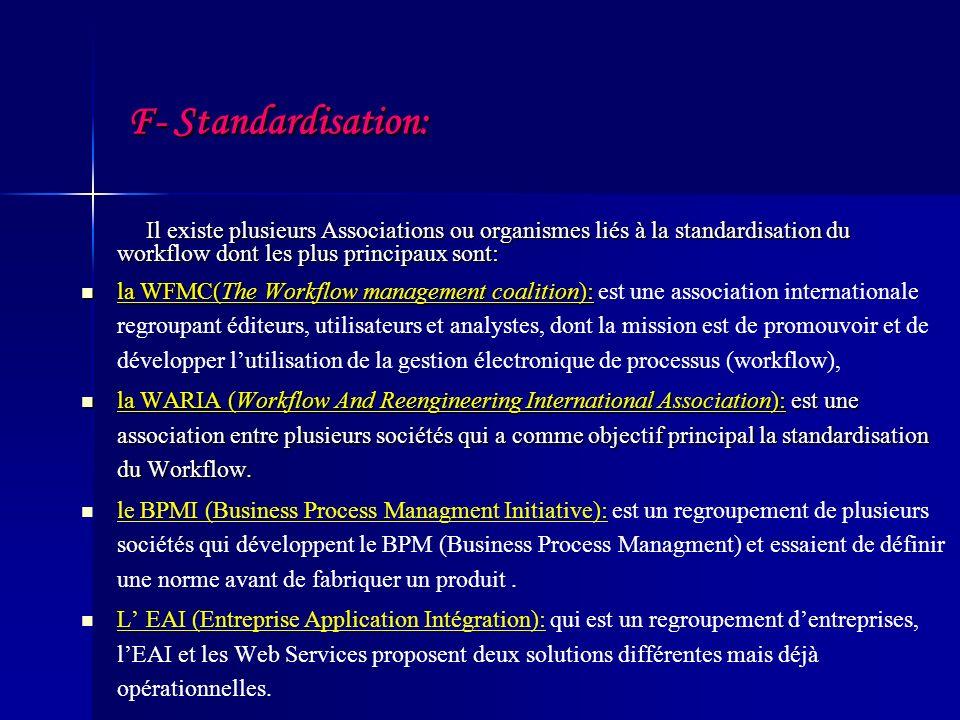 F- Standardisation: Il existe plusieurs Associations ou organismes liés à la standardisation du workflow dont les plus principaux sont:
