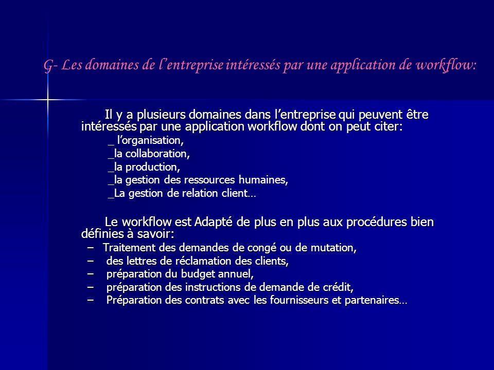 G- Les domaines de l'entreprise intéressés par une application de workflow: