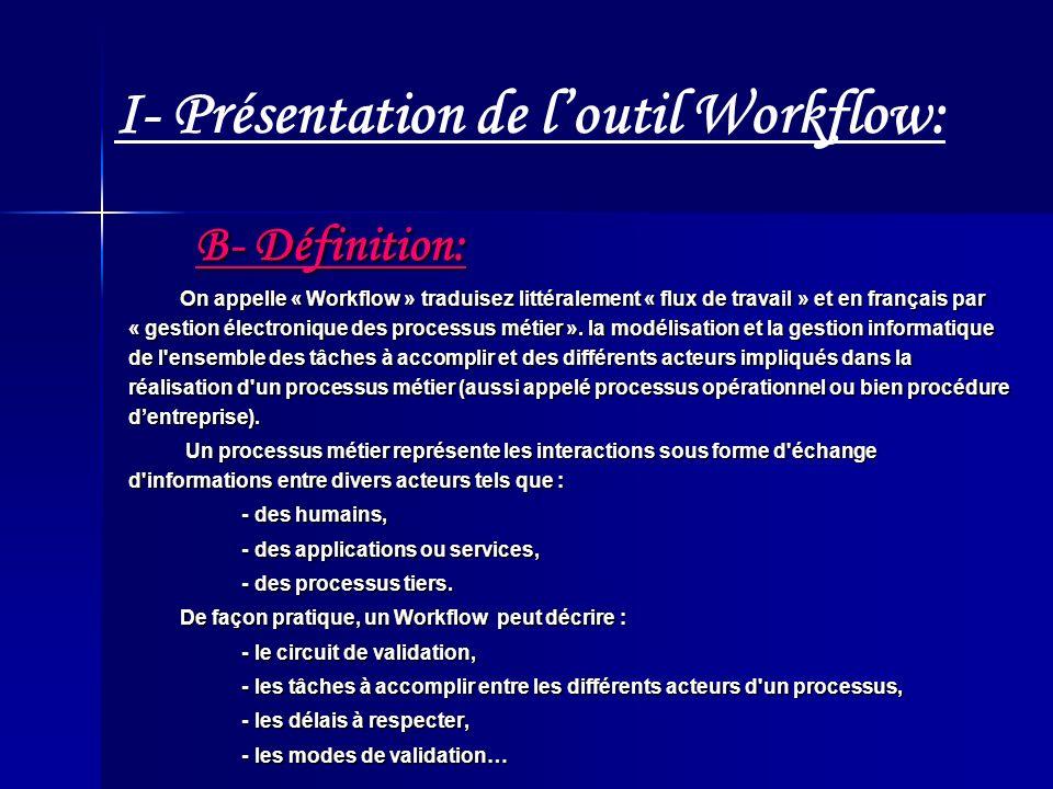 I- Présentation de l'outil Workflow: