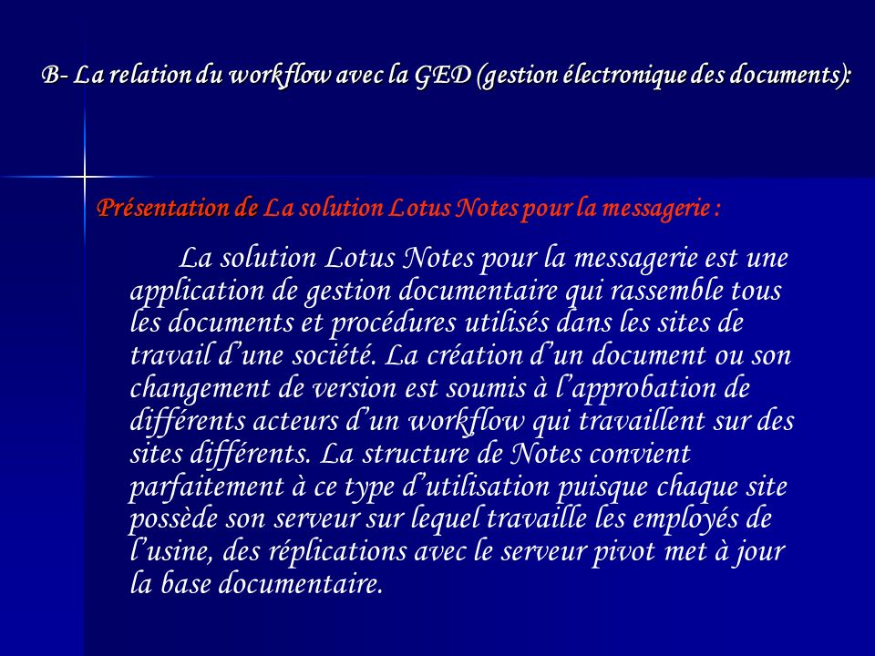 Présentation de La solution Lotus Notes pour la messagerie :