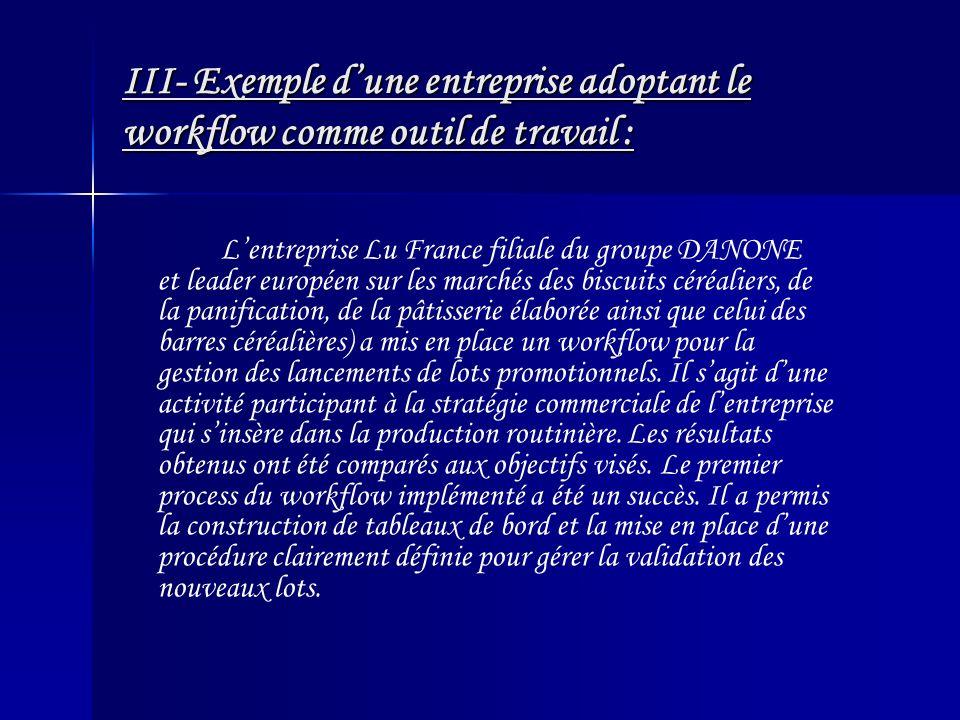 III- Exemple d'une entreprise adoptant le workflow comme outil de travail :