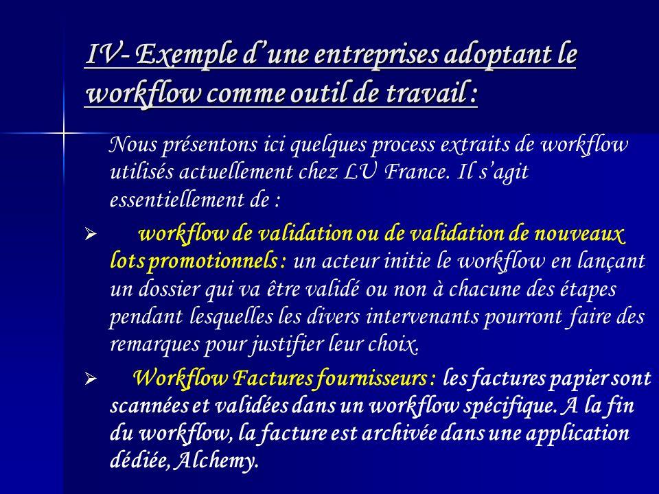 IV- Exemple d'une entreprises adoptant le workflow comme outil de travail :