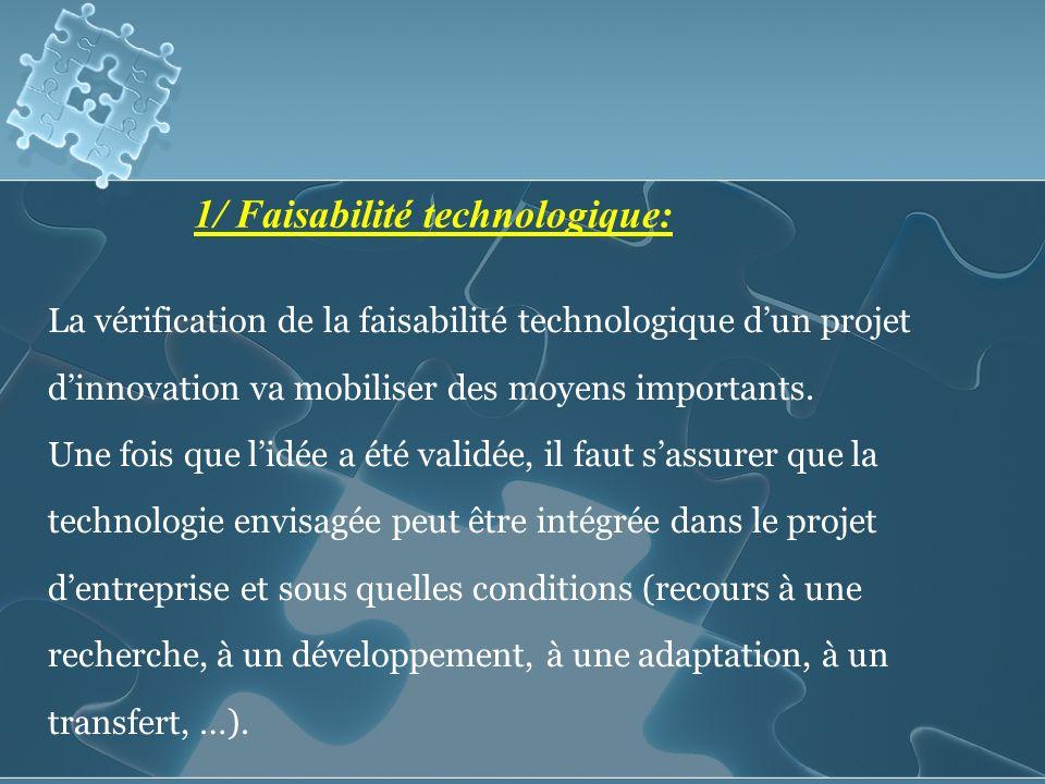 1/ Faisabilité technologique: