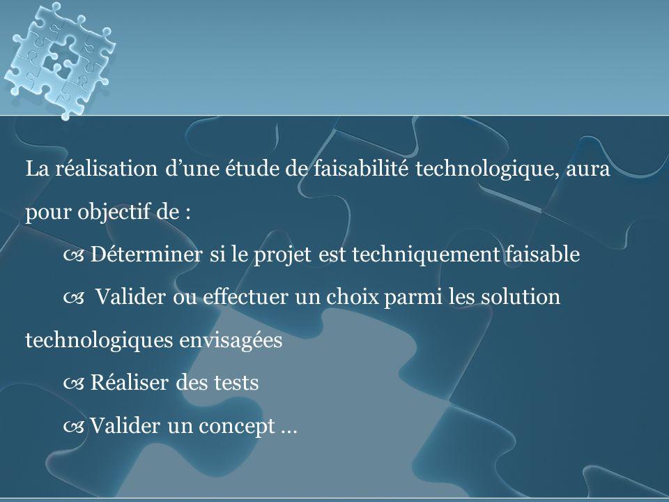 La réalisation d'une étude de faisabilité technologique, aura pour objectif de :