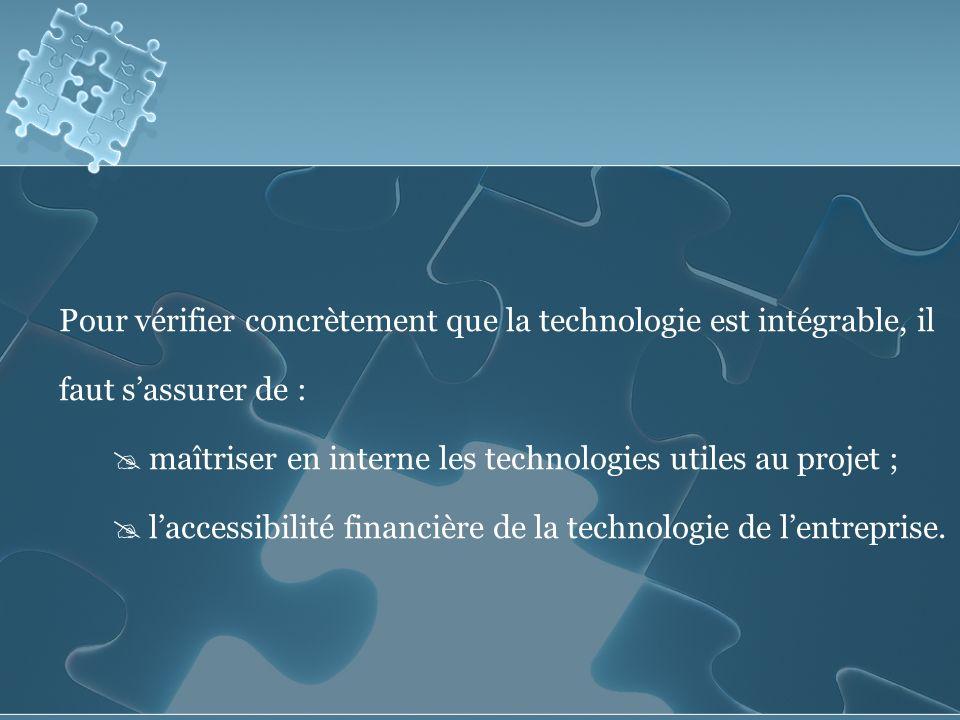 Pour vérifier concrètement que la technologie est intégrable, il faut s'assurer de :