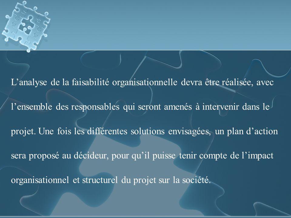 L'analyse de la faisabilité organisationnelle devra être réalisée, avec l'ensemble des responsables qui seront amenés à intervenir dans le projet.