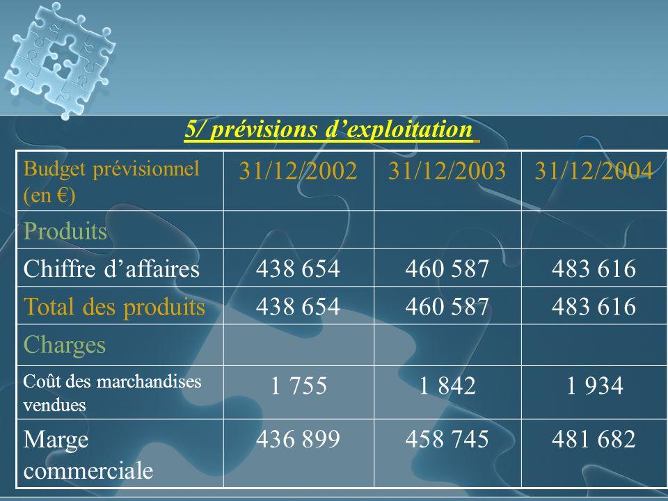 5/ prévisions d'exploitation 31/12/2002 31/12/2003 31/12/2004 Produits