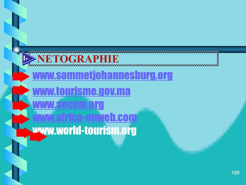 NETOGRAPHIE www.sommetjohannesburg.org www.tourisme.gov.ma