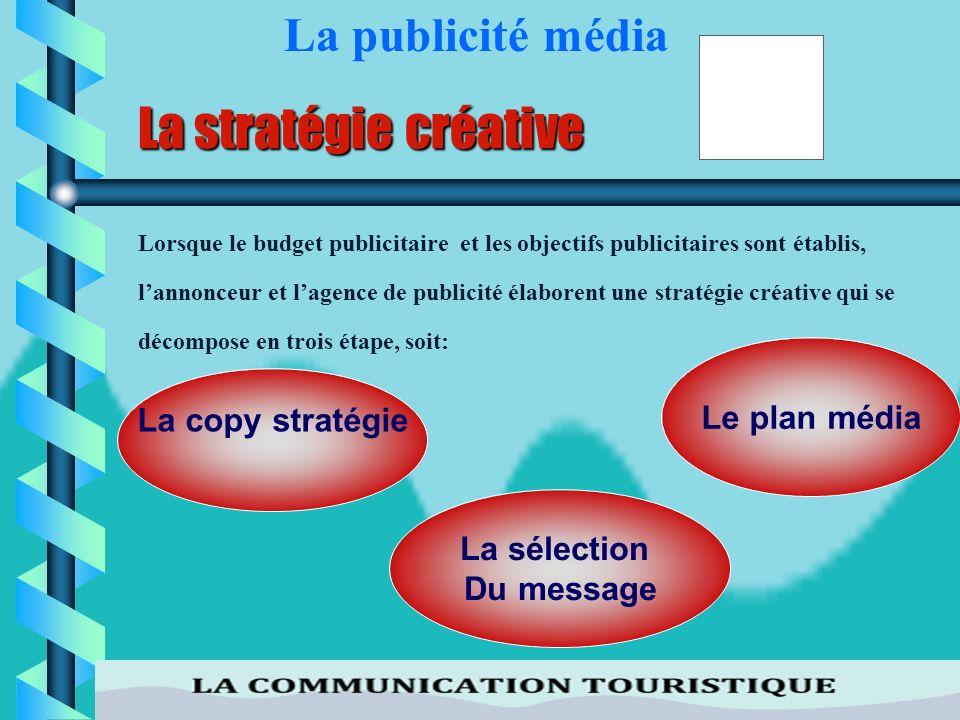 La stratégie créative La publicité média Le plan média