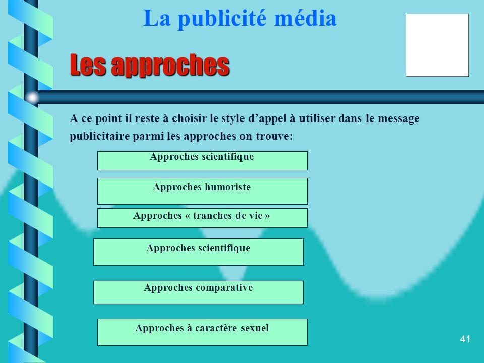 Les approches La publicité média Approches scientifique