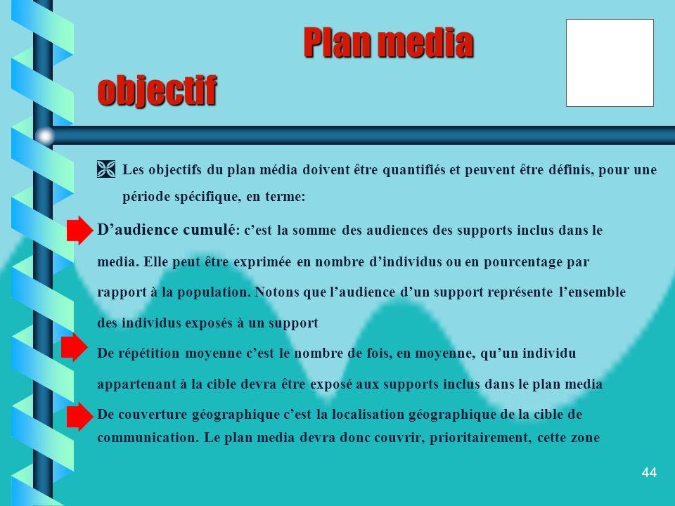 Plan media objectif. Les objectifs du plan média doivent être quantifiés et peuvent être définis, pour une période spécifique, en terme: