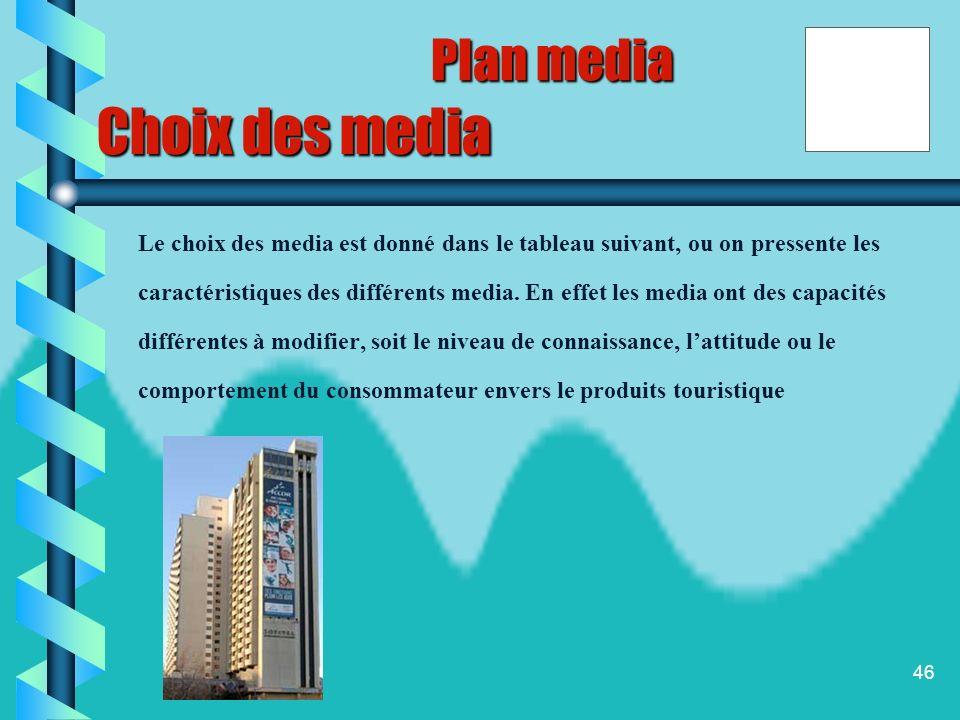 Choix des media Plan media