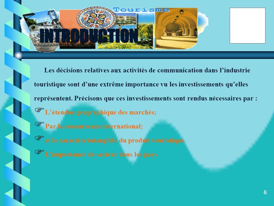 INTRODUCTION Les décisions relatives aux activités de communication dans l'industrie.
