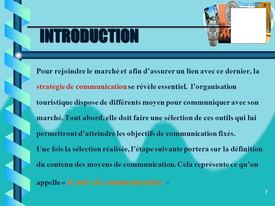 INTRODUCTION Pour rejoindre le marché et afin d'assurer un lien avec ce dernier, la. stratégie de communication se révèle essentiel. l'organisation.