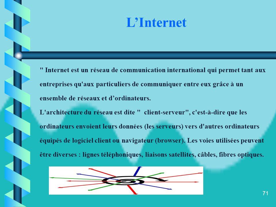 L'Internet Internet est un réseau de communication international qui permet tant aux.