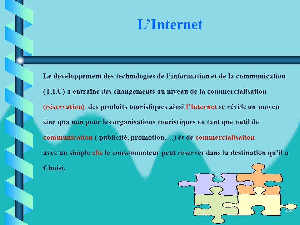 L'Internet Le développement des technologies de l'information et de la communication.