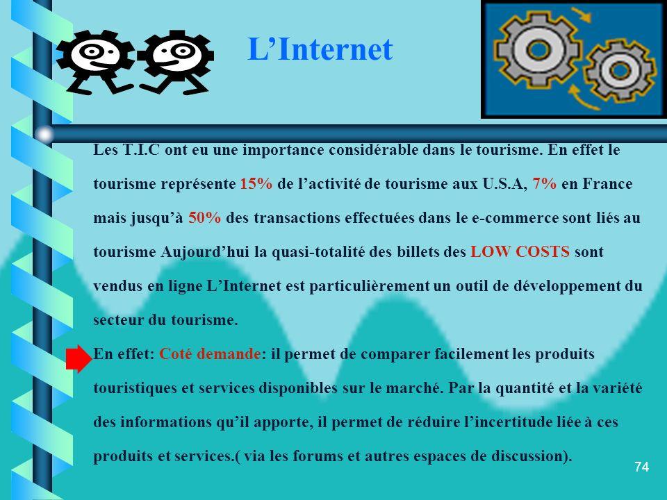 L'Internet Les T.I.C ont eu une importance considérable dans le tourisme. En effet le.