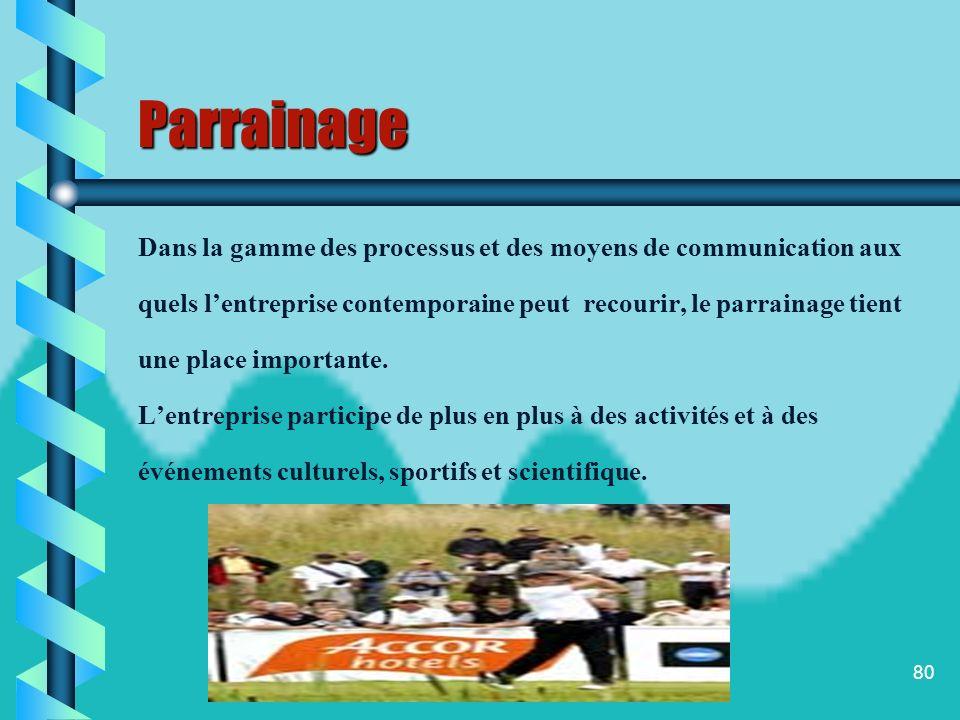 Parrainage Dans la gamme des processus et des moyens de communication aux. quels l'entreprise contemporaine peut recourir, le parrainage tient.