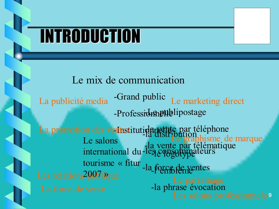 INTRODUCTION Le mix de communication -Grand public -Professionnelle