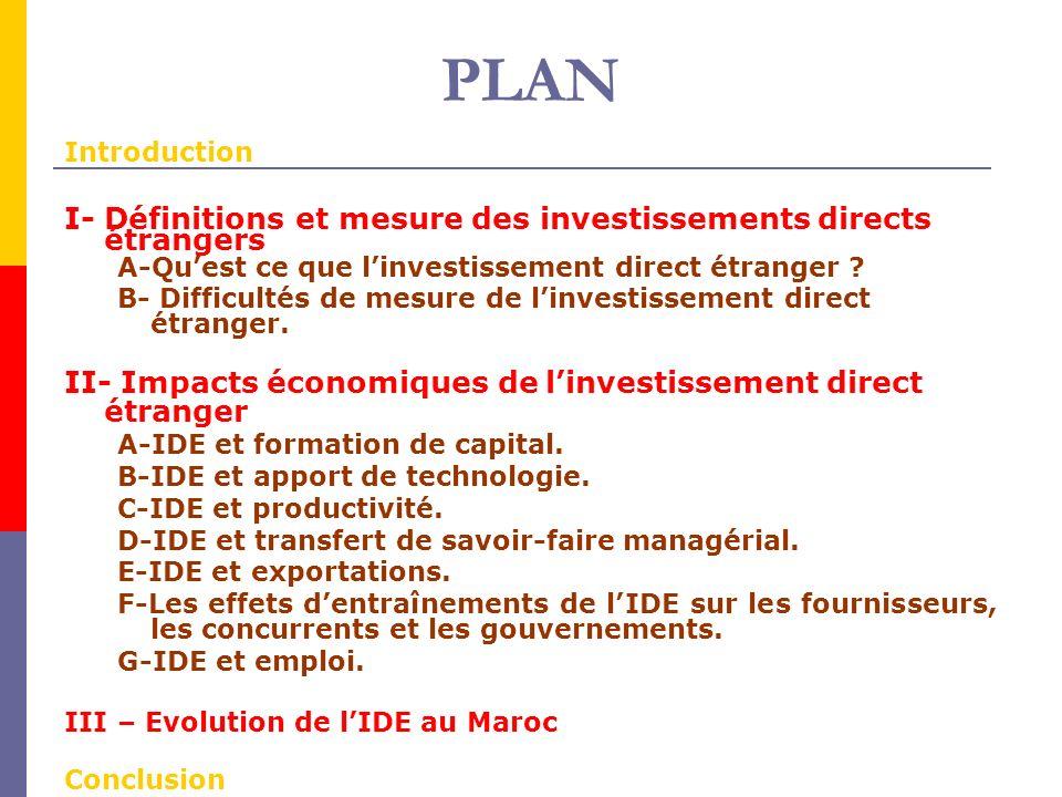 PLAN I- Définitions et mesure des investissements directs étrangers