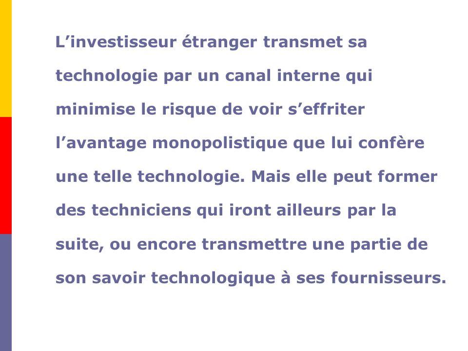 L'investisseur étranger transmet sa technologie par un canal interne qui minimise le risque de voir s'effriter l'avantage monopolistique que lui confère une telle technologie.