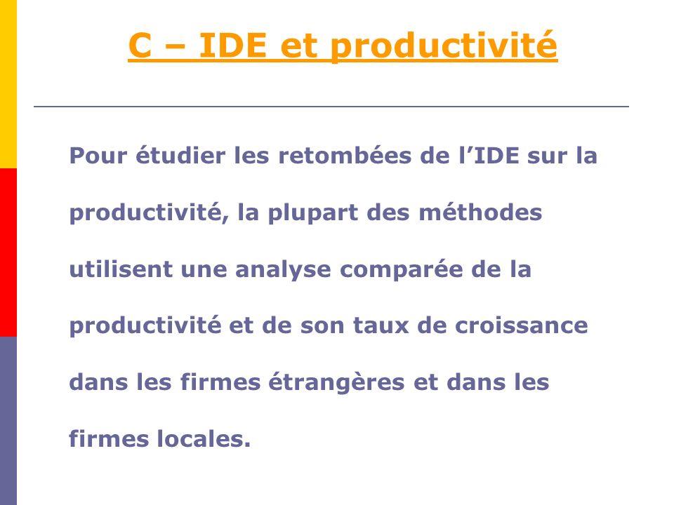 C – IDE et productivité