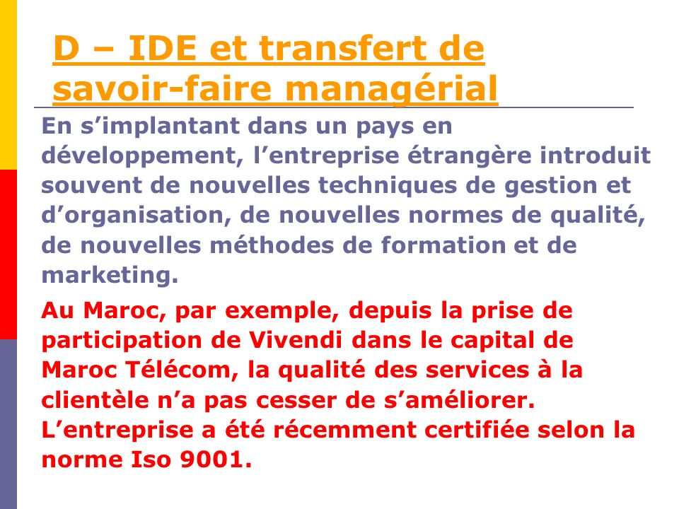 D – IDE et transfert de savoir-faire managérial