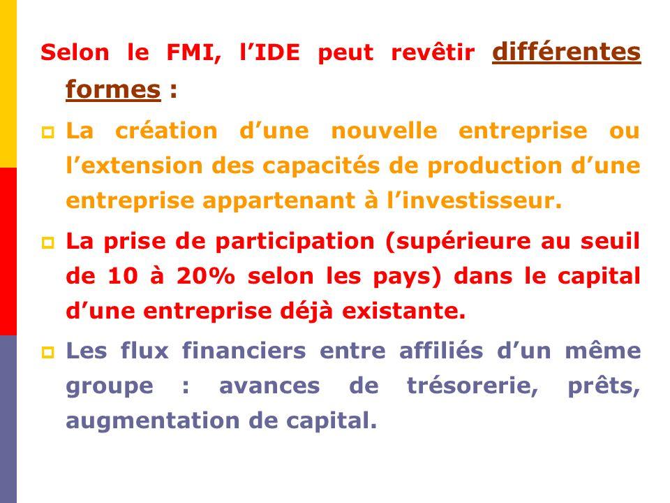 Selon le FMI, l'IDE peut revêtir différentes formes :