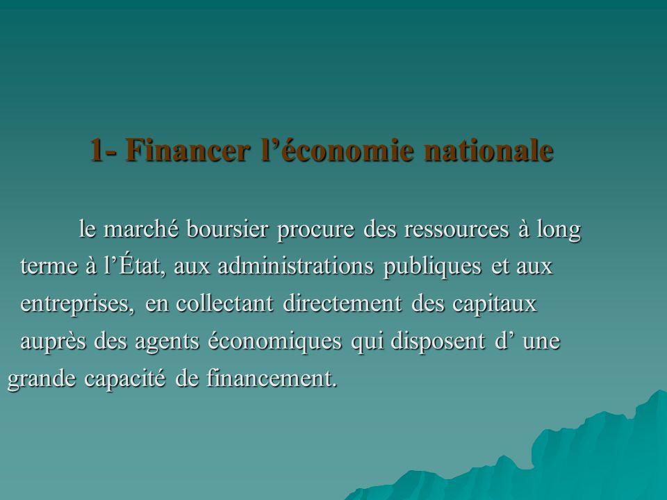 1- Financer l'économie nationale