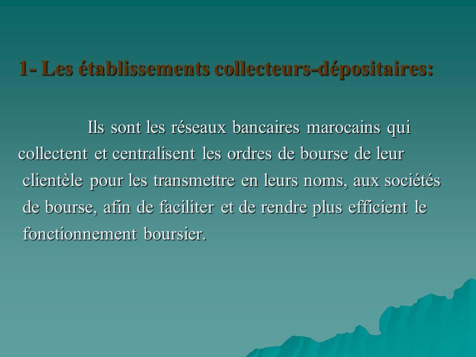 1- Les établissements collecteurs-dépositaires: