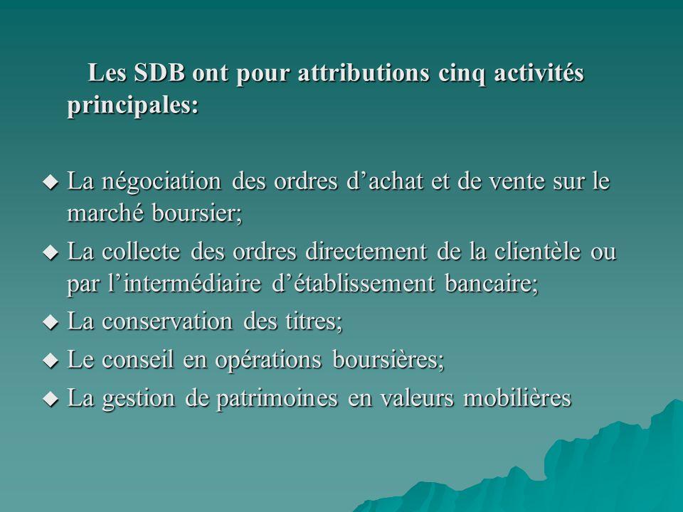 Les SDB ont pour attributions cinq activités principales: