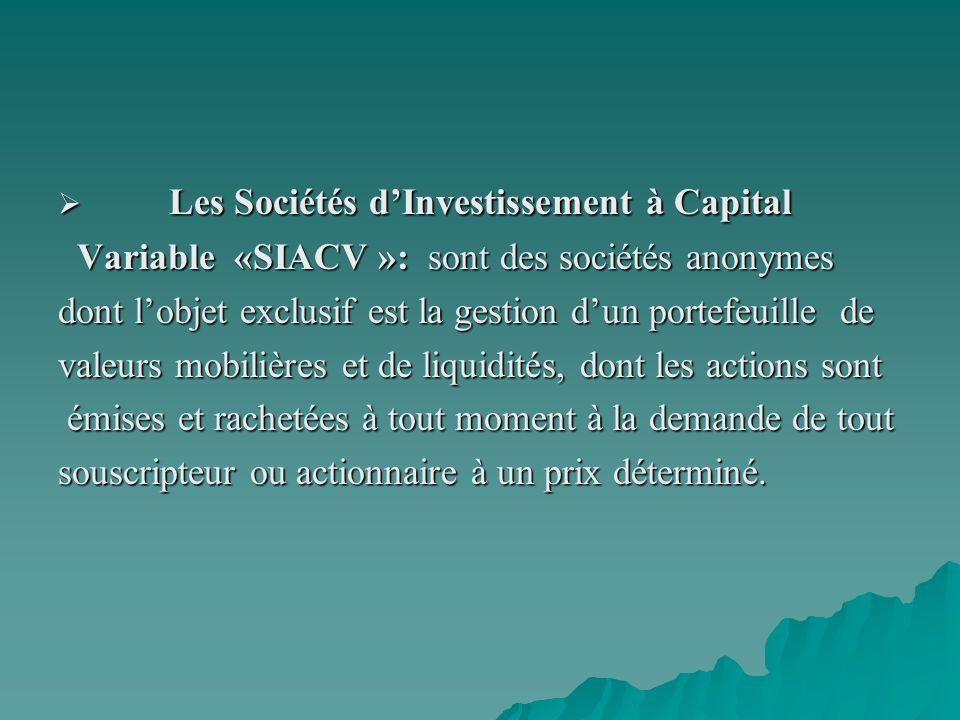 Les Sociétés d'Investissement à Capital