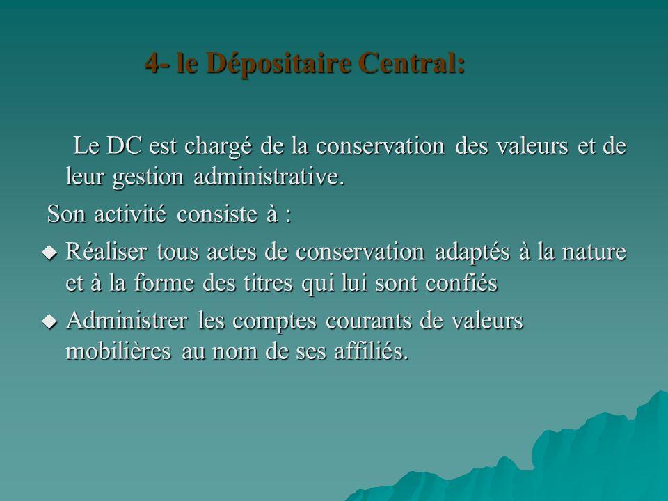 4- le Dépositaire Central:
