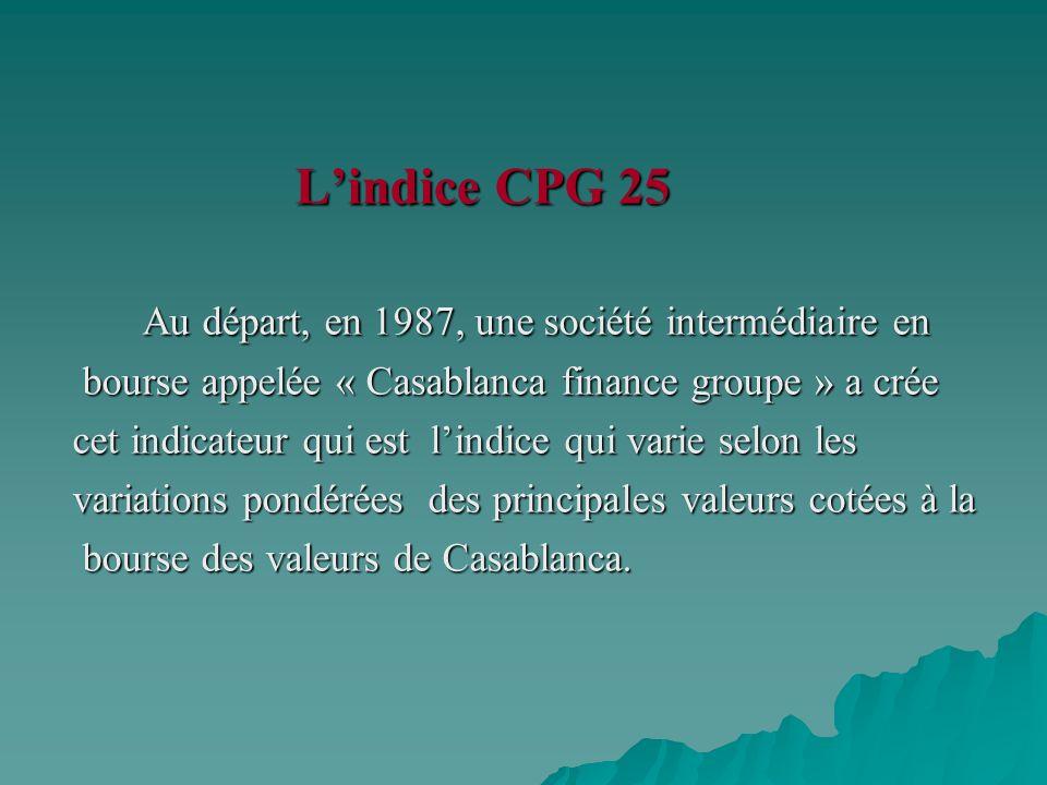 L'indice CPG 25 Au départ, en 1987, une société intermédiaire en