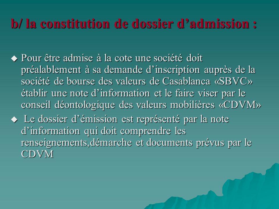 b/ la constitution de dossier d'admission :