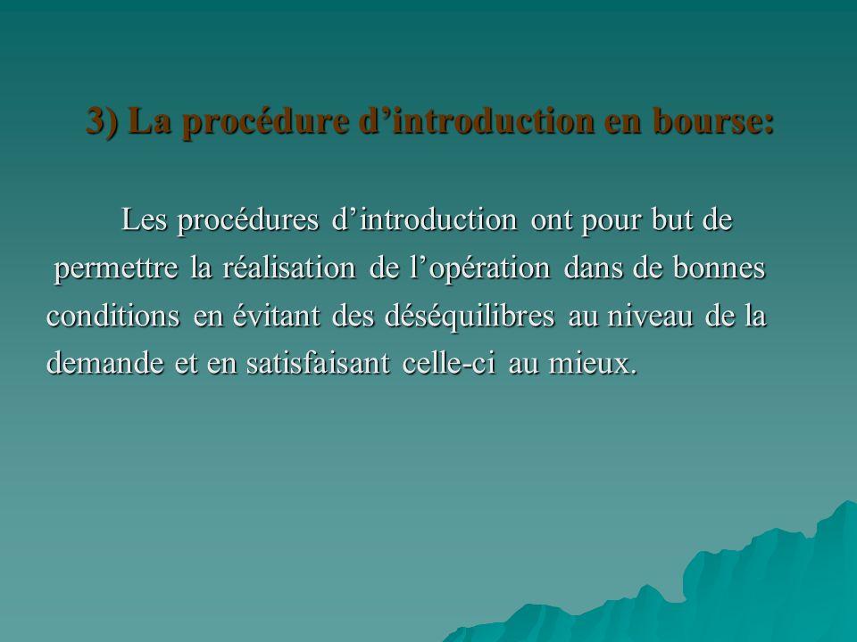 3) La procédure d'introduction en bourse: