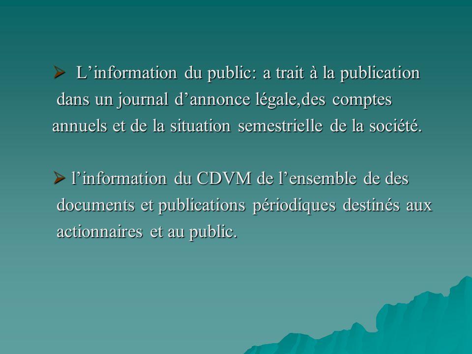 L'information du public: a trait à la publication