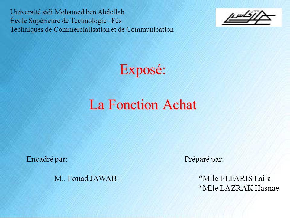 Exposé: La Fonction Achat Encadré par: M.. Fouad JAWAB Préparé par: