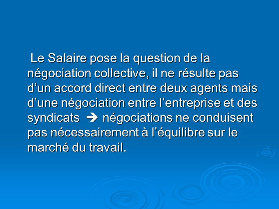 Le Salaire pose la question de la négociation collective, il ne résulte pas d'un accord direct entre deux agents mais d'une négociation entre l'entreprise et des syndicats  négociations ne conduisent pas nécessairement à l'équilibre sur le marché du travail.