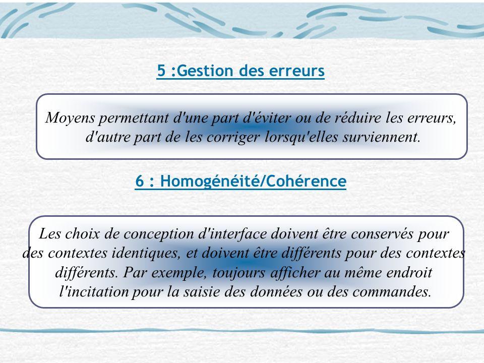 6 : Homogénéité/Cohérence