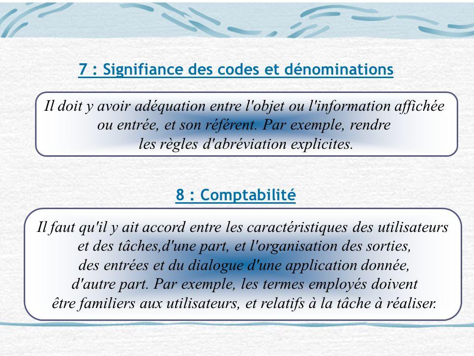 7 : Signifiance des codes et dénominations