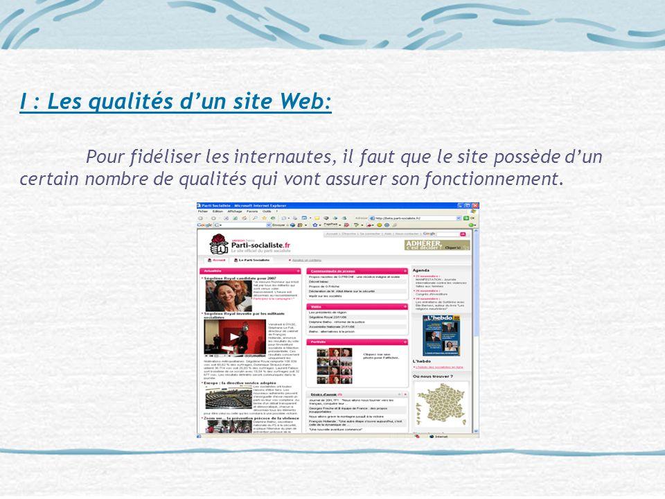 I : Les qualités d'un site Web: