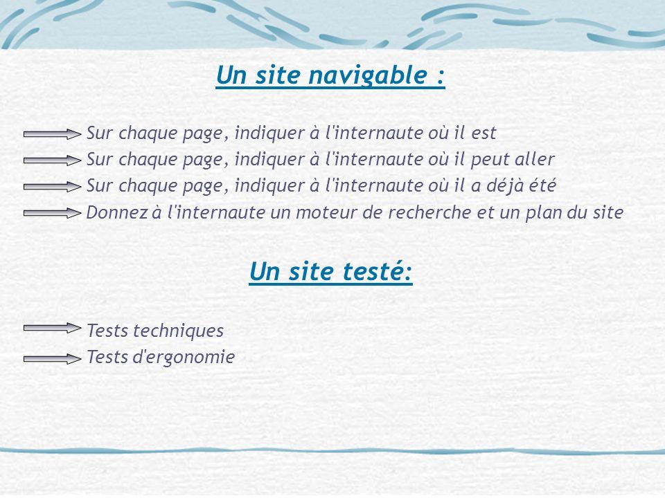 Un site navigable : Un site testé: