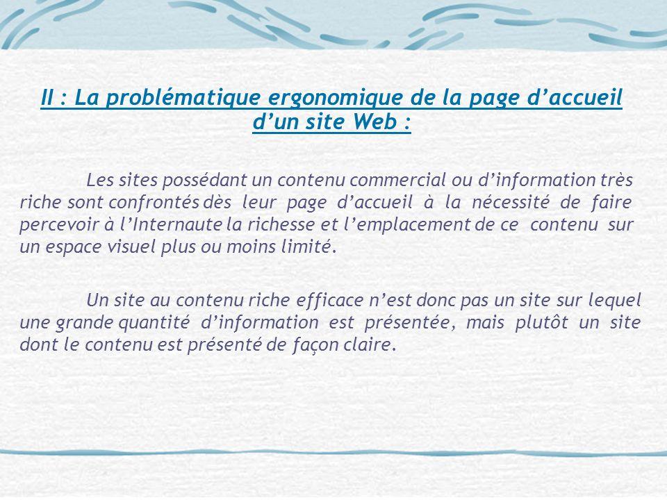 II : La problématique ergonomique de la page d'accueil d'un site Web :