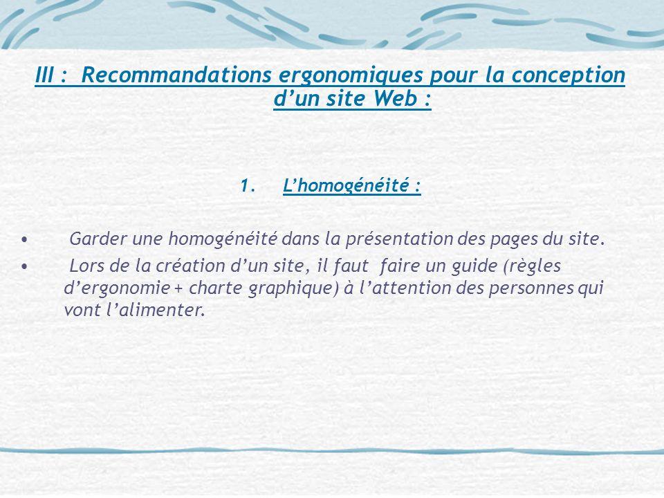 III : Recommandations ergonomiques pour la conception d'un site Web :